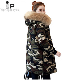 Lady Long Winter Parka Australia - Winter Women Camouflage Hooded Jackets 2019 New Thick Warm Fur Collar Ladies Coats Casual Loose Long Sleeve Cotton Jacket Parka