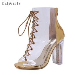 5f997c5debdb DiJiGirls Sexy Transparent Boots Crystal Heel Women Ankle Boots Lace-up  Peep Toe High Heel Booties Clear Pvc Shoe Summer