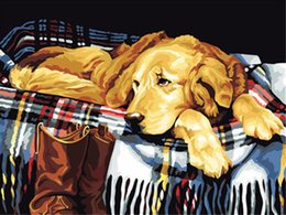 $enCountryForm.capitalKeyWord Australia - 16x20 inches Lazy Brown Labrador Sleeping With The Owner DIY Paint By Numbers Kits On Canvas Art Acrylic Oil Painting