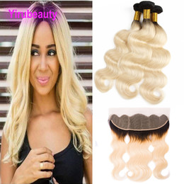 unprocessed human hair piece 2019 - Malaysian Unprocessed Virgin Human Hair Body Wave 1B 613 Blonde 3 Bundles With 13X4 Lace Frontal 4 Pieces One Set 10-26i