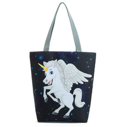 China good quality Space White Flying Horse Printed Tote Handbag Women Cartoon Unicorn Design Shoulder Bag Female Beach Bag Lady cheap blue color ladies shoulder handbag suppliers