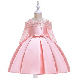 Chinese  2018 Cute Princess Flower Girl Dresses Pink Satin Pageant Gowns For Weddings Ankle Length Half Sleeves First Communion Dresses For Girls manufacturers