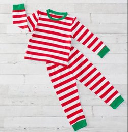 Leather pajamas online shopping - 2019 new Christmas children striped pajamas red green unisex suit cotton high quality yll