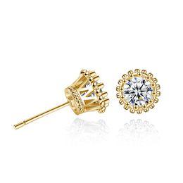 Copper Earrings Australia - Gold Color Copper Crown Stud Earing 2Colors Round Cubic Zircon Earrings Fashion Jewelry for Women Gift Western Hot Earings Stud