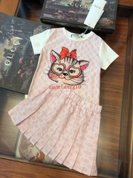 summer cat suits NZ - Brand kids clothes boys girls New kids casual suit Cat Print Short Sleeve + Pleated Skirt Printed cotton Summer kids clothing girls