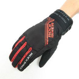 Racing glove motoR online shopping - ROCK BIKER Winter Motorcycle Gloves Men Racing Waterproof Windproof Warm Cycling Bicycle Cold Luvas Motor Guantes Glove