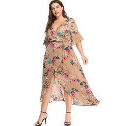 $enCountryForm.capitalKeyWord Canada - Tie Waist Plus Size Floral Printed Hi-Lo Maxi Dress Half Flare Sleeve Woman Summer Deep V Neck Long Wrap Dress