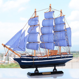 wooden craft decor Canada - Large Mediterrean Style Wooden Figurine Pirate Ship Model Miniature Marine Wood Craft Sailingboat Nautical Decor Home Crafts Y19062704