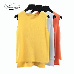 $enCountryForm.capitalKeyWord NZ - Summer New Knitted Split Tank Top Casual Simple Loose Woman Fashion Candy Color Sleeveless Vintage Blouse B-042 Y19042801