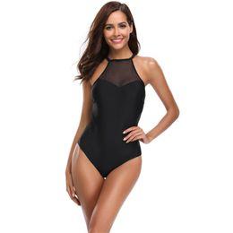 $enCountryForm.capitalKeyWord UK - Black Mesh Sling Bikini Set Womens Sexy One Piece Swimsuit Low Back Push Up Swimming Bathing Suit High Neck Swimwear Off Shoulder Beachwear