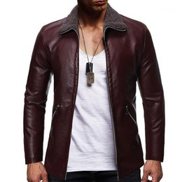 punk style jackets Canada - Lapel Neck Punk Style Jacket Gentlemen Apparel Plus Size Mens Designer Fashion Leather Jackets Solid Color