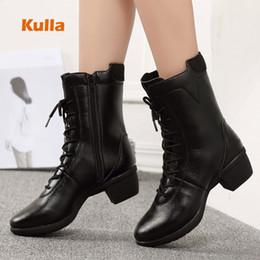 Women jazz shoes online shopping - New Women Modern Dance Boots Woman Jazz Soft Bottom Zip Square Heel Dance Shoes Autumn Winter Middle Heels Warm Fitness Sneakers