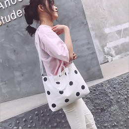 $enCountryForm.capitalKeyWord Australia - black and white dots girl women shoulder bag canvas handbag dotted tote ladies cross body bags messenger