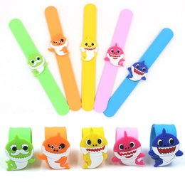 Baby Girls Gift NZ - Baby Shark Slap Snap Bracelet Cute Kid Cartoon Grandpa Grandma Silicone Wristband Boys Girls Jewelry Party Festival Gift TTA1128