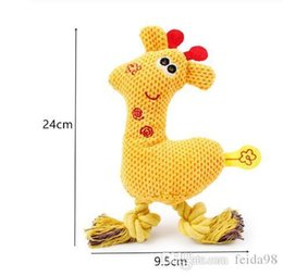 giraffe toys Australia - Dog Chew Squeak Toys Giraffe Fleece Rope Interative Toy Animals Plush Puppy Deer for Pet Dogs Cat Chew Squeaking Toy GB993