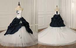 $enCountryForm.capitalKeyWord UK - Charming White Navy Blue Embroidery Feathers Wedding Dresses Bridal Gown Strapless Ruched Satin Tulle Beaded Sequins Wedding Gowns Cheap