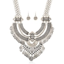 Coins Sets Australia - New Fashion Bohemian Vintage Statement Necklace Sliver Ancient Long Coin Tassel Maxi Necklace Collier Ethnic Jewelry Sets
