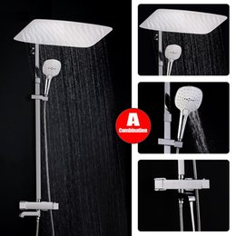 chrome thermostatic rain shower set Australia - Bathroom Modern Rain Mixer Douche Combo Bath Set Wall Mounted Rainfall Shower Head System Chrome Exposed Shower faucet Mixer Tap Set