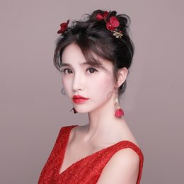 $enCountryForm.capitalKeyWord Australia - Handmade Fashion Hair Clips Red Fabric Flower Barrettes Wedding Bridal Jewelry Set Women Party Headdress with Dangle Earrings