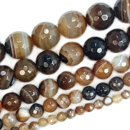 "$enCountryForm.capitalKeyWord NZ - ashion Jewelry Beads wholesale Faceted Coffee Striated Agates Onyx Round Beads For Jewelry Making 15"" Pick Size 4,6,8,10,12mm Making Bra..."