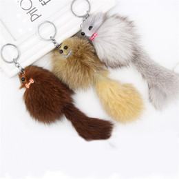 wholesale fox jewelry NZ - Imitate Fox Cute Keychain Woman Bag Charms Car Plush Keyrings Female Key Holder Small Fox Shape Keyring Jewelry Random Send