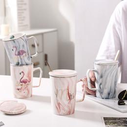 Mug Cup Print Australia - Handpainted Gold Flamingo Mugs wiht spoon lid,Marble Porcelain Coffee Mug Ceramic Tea Milk Cup Lady Gentle Man Printed Gift