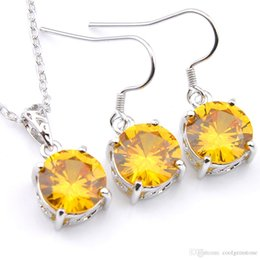 3f78455f64e8d5 Mix 1 Set Classic Holiday Jewelry Fire Round Shaped Yellow Crystal Zirconia  925 Sterling Silver Pendants Earrings Jewelry Set Holiday Party
