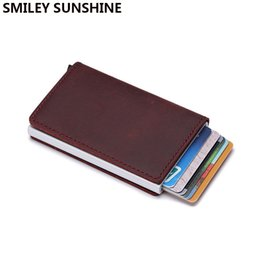 $enCountryForm.capitalKeyWord Australia - Genuine Leather Men Wallet Mini Purse Male Vintage Automatical Aluminium Rfid Card Holder Wallet Small Smart Money Bag #302379
