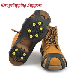 ice spikes UK - 4 Size 10 Studs Shoe Spiked Grips Ice Snow Shoe Spiked Grips Cleats Crampons Winter Climbing Camping Anti Slip Shoes Cover