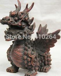 "$enCountryForm.capitalKeyWord Australia - free shipping 6 ""Chinese Bronze Folk fly Dragon beast animal Pixiu Statue sculpture Feng Shui"