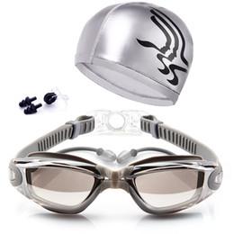 Swim Nose Australia - Adult Swimming Glasses Kit Coated Lens Anti Fog Swim Goggles + Cap + Case Nose Clip Ear Plugs EDF88