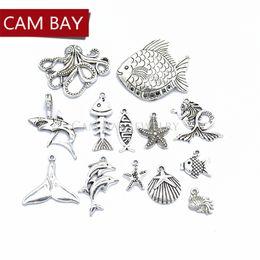 b50cef308 13PCS Mix 5 Sets Antique Silver Fish Starfish Shark Octopus Charm Fit Metal  Necklace Ring Bracelet Pendant Jewelry making U013