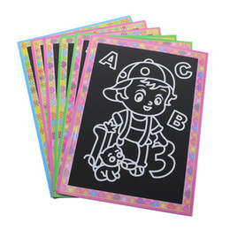 reading toys UK - 1pcs lot 13*9.5 Cm Kids Magic Scratch Art Doodle Pad Painting Card Educational Game Toys Early Learning Drawing Toy