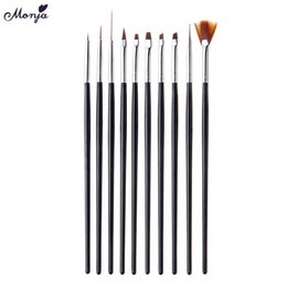 Wholesale Tools Nail Brushes Monja Nail Art Acrylic UV Gel Extension Carving Dotting Drawing Painting Liner French Line Petal Flower Design