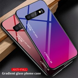 Gradient Tempered Glass Phone Case For Samsung Galaxy S10e S8 S9 S10 Plus Note 8 9 A5 A7 A9 2018 Back Cover Conque