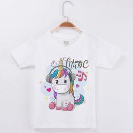 Children White Tees Australia - Sale Basic White Kids T Girls Fashion Cotton O-neck Short Sleeve Tees Child Shirt Music Unicorn Printed Children Clothing J190529