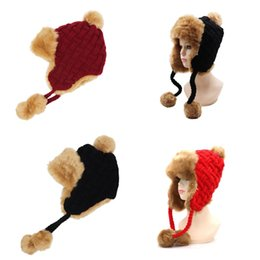 Skull ball capS online shopping - Fashion Wool Knitted Cap Men And Women Ear Protector Hair Ball Beanie Women Fashion Hat Cashmere Fur Red rm Ww