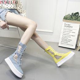$enCountryForm.capitalKeyWord Australia - Women Shoes Summer Knee High Martin Boots Platform Shoes Denim Canvas Boots Muffin Wedges Breathable