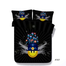 $enCountryForm.capitalKeyWord Australia - Cartoon 3 Piece Bedding Set With 2 Pillow Shams For Kids Teen Boys Girls Yellow Face Duvet Cover Plant Flower Black Comforter Cover Blue
