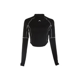 Upper Blouse UK - hot Graceful Long Sleeve Blouse Crop Top Slim fitness crop tops Sport Yoga Running Exercise gym Outdoor cropped tops upper clothing Black
