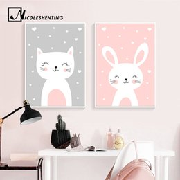 canvas prints paintings NZ - Kawaii Wall Art Canvas Nursery Poster Print Cartoon Cat Painting Nordic Kids Decoration Picture Baby Living Room Decor