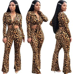 $enCountryForm.capitalKeyWord NZ - Women shirt Flared Pant tracksuit Pants 2 piece set Long Sleeve crop top tshirt Sexy Leopard Print sportswear Fall Winter clothes 1351
