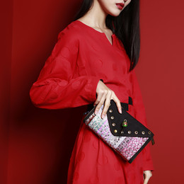 chinese style clutch bag 2019 - MENOGGA Clutch Purse Chinese Style 100% Handmade Embroidery Durable Canvas Vintage Hand bag Long Roomy Wallet Women Chan