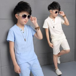 Boy Chinese Suit Australia - Children's Summer Sets New Kid Sports Collection Cotton Casual Short Sleeved T-shirt + Pants Two Suits Pocket 5-14 year