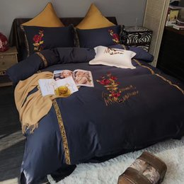$enCountryForm.capitalKeyWord NZ - High Grade All Cotton Bed Supplies Rose Embroidery Black White 60S Bedding Cover Long Stapled Cotton Bedding Sets