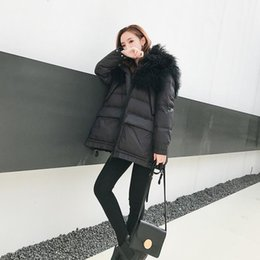 Jackets Big Collars Pattern Australia - High-quality Oversize Big Natural Raccoon Thicker Down Jacket Female Luxurious Fur Collar Warm Down Coat Can Fit -30 W434