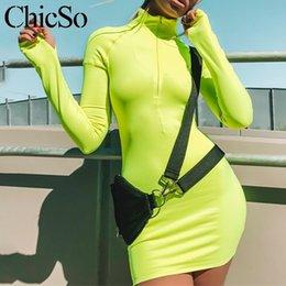 $enCountryForm.capitalKeyWord NZ - Missychilli Fluorescence Green Pencil Bodycon Dress Women Long Sleeve Short Neon Light Red Dress Female Fitness Club Black Dress Y19051001