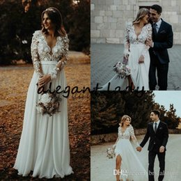 Wholesale bohemian lace tops for sale – plus size Long Sleeve Bohemian Wedding Dresses Modest V neck Fowy Chiffon Skirt Lace D Floral Top Country Beach Bridal Wedding Gown