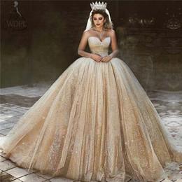 $enCountryForm.capitalKeyWord NZ - Dubai Arabic Gold Wedding Dresses 2020 Sequins Princess Ball Gown Royal Wedding Gowns Sweetheart Neck Sleeveless Sparkly Bridal Gowns