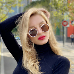 black round sunglasses for women NZ - 2020 Round lens spectacle Sunglasses for Women men female sunrods occulos of male soil fashion Colorful design sun glasses White Full Frame